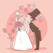 Fotografie Satz Hochzeit: Braut und Bräutigam küssen