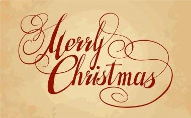 Artistic calligraphy for postcard. Merry Christmas clip art vector