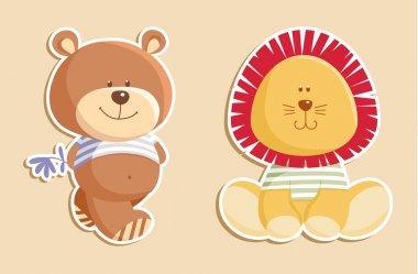 Toys: bear and leon