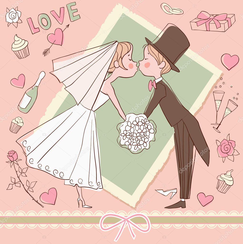 Дне рождения, открытка с годовщиной свадьбы рисованная