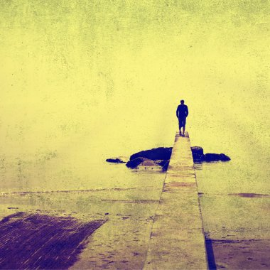 Vintage man silhouette walk