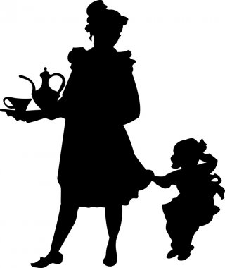 Silhouette of a woman with a child