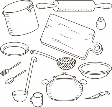 Vector set: kitchen and cooking isolated on the white background