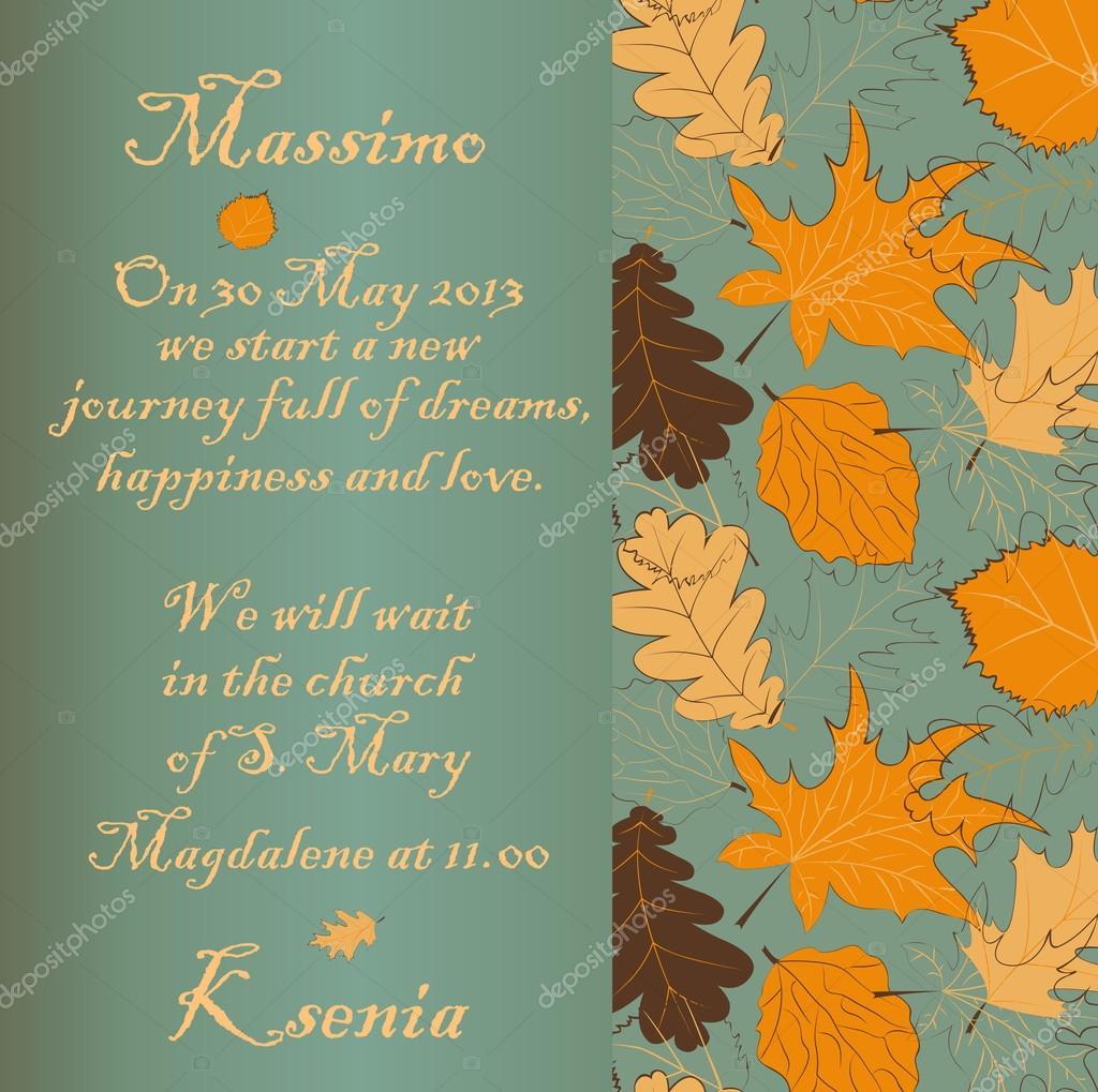 Wedding invitation with autumn leaves