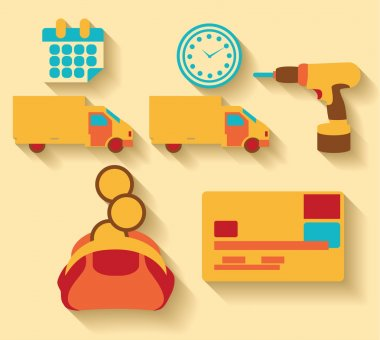 Flat design Logistic and cargo icons