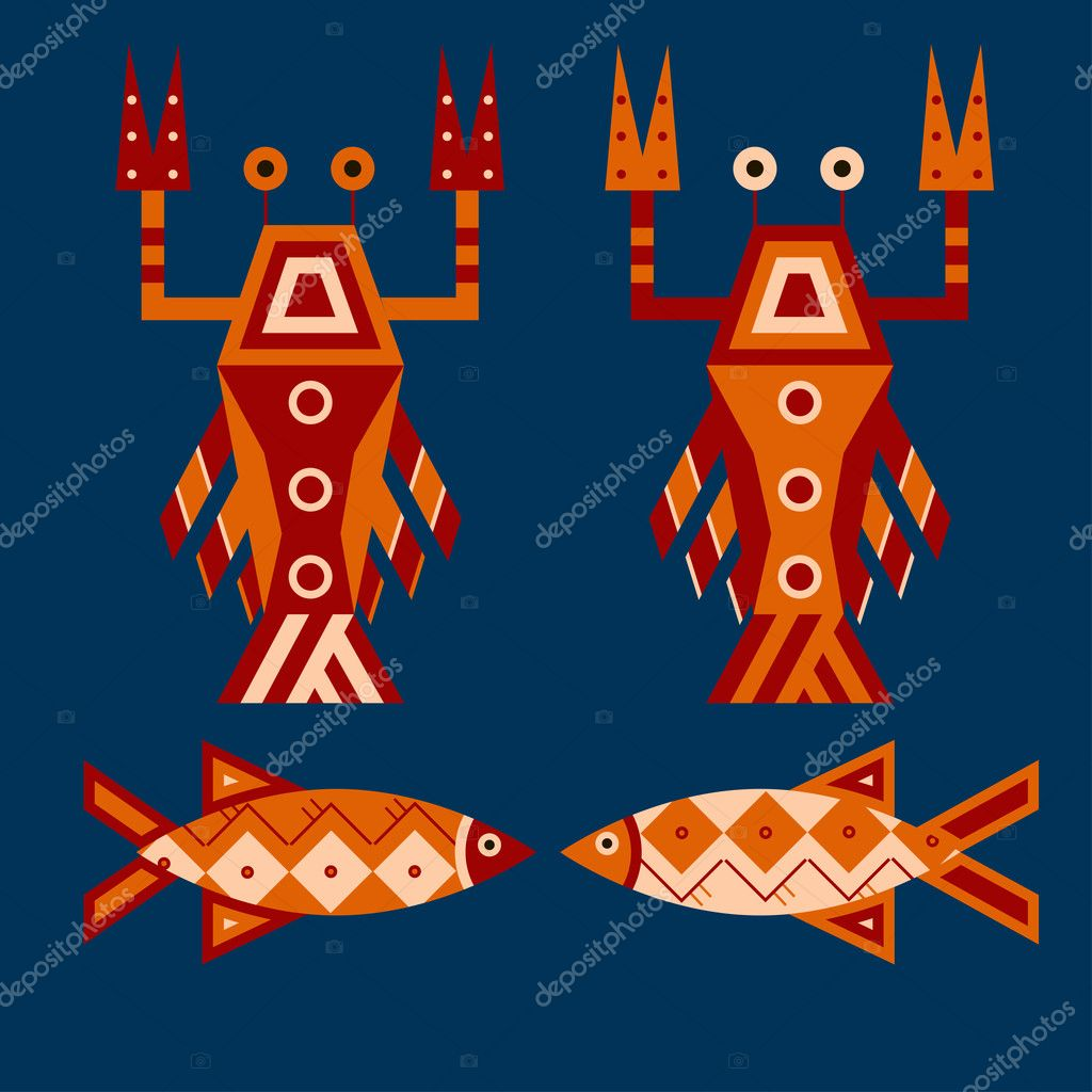 Seafood. Flat vector design