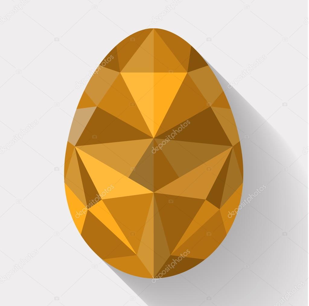 Flat design polygon of golden egg. Vector illustration.