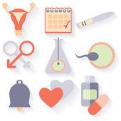 Fotografie Flaches Design, Vektor-Set von Fruchtbarkeitssymbolen