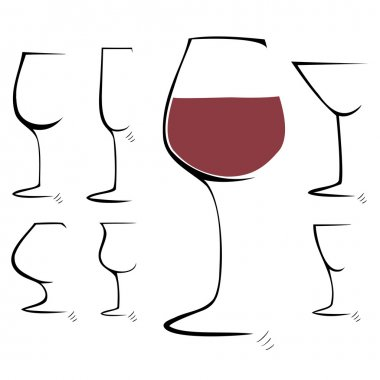 Hand drawing sketch. Set of goblet, wineglass. Vector illustration.