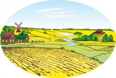 Village - wheat field