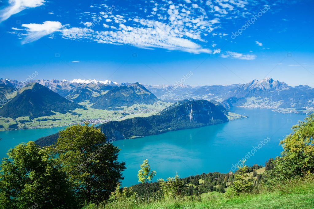 Beautiful view to Lucerne lake (Vierwaldstattersee)