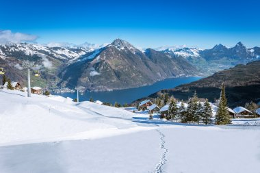 View to Grosser, Kleiner Mythen, Lake Lucerne and Rigi from Klewenalp ski resort, Central Switzerland