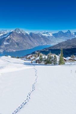 View to Grosser, Kleiner Mythen, Lake Lucerne and Rigi from Klewenalp ski resort, Central Switzerland