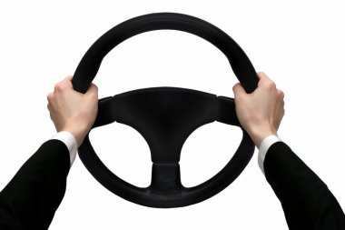 Hands on the steering wheel isolated on a white background stock vector