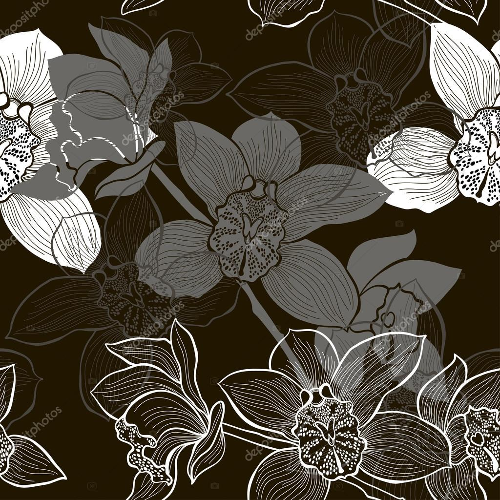 Monochrome seamless background with orchids