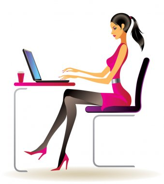 Business woman with laptop in office