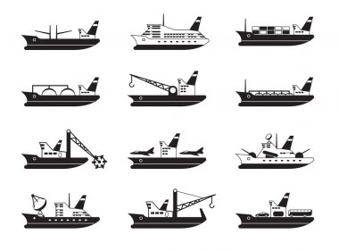 Diverse commercial and passenger ships