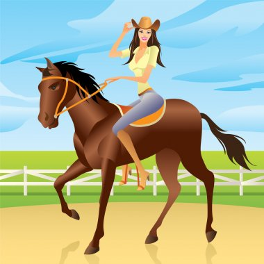 Girl is riding a horse in Western style