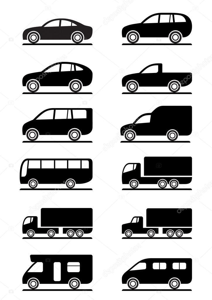 Road transportation icons set