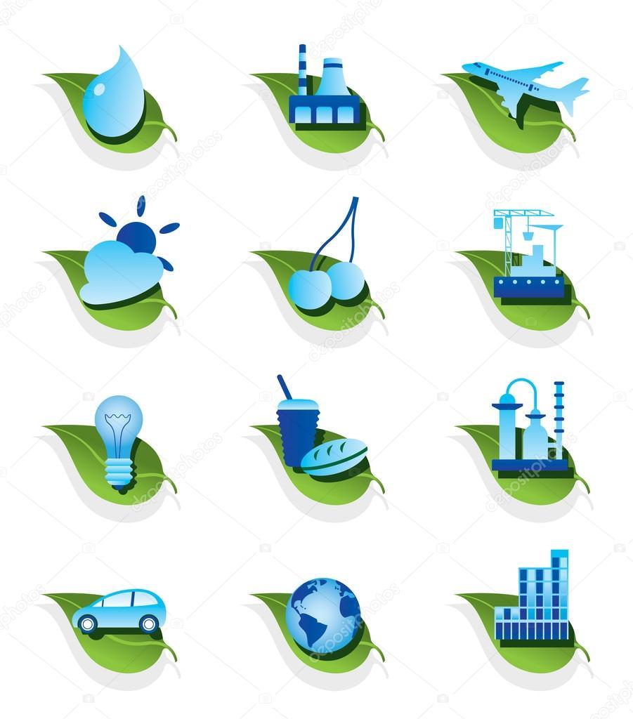 Diverse ecological icons set