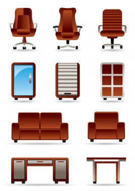 Business office furniture icons set