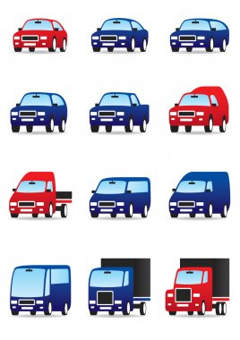 Road private and public transport icons set