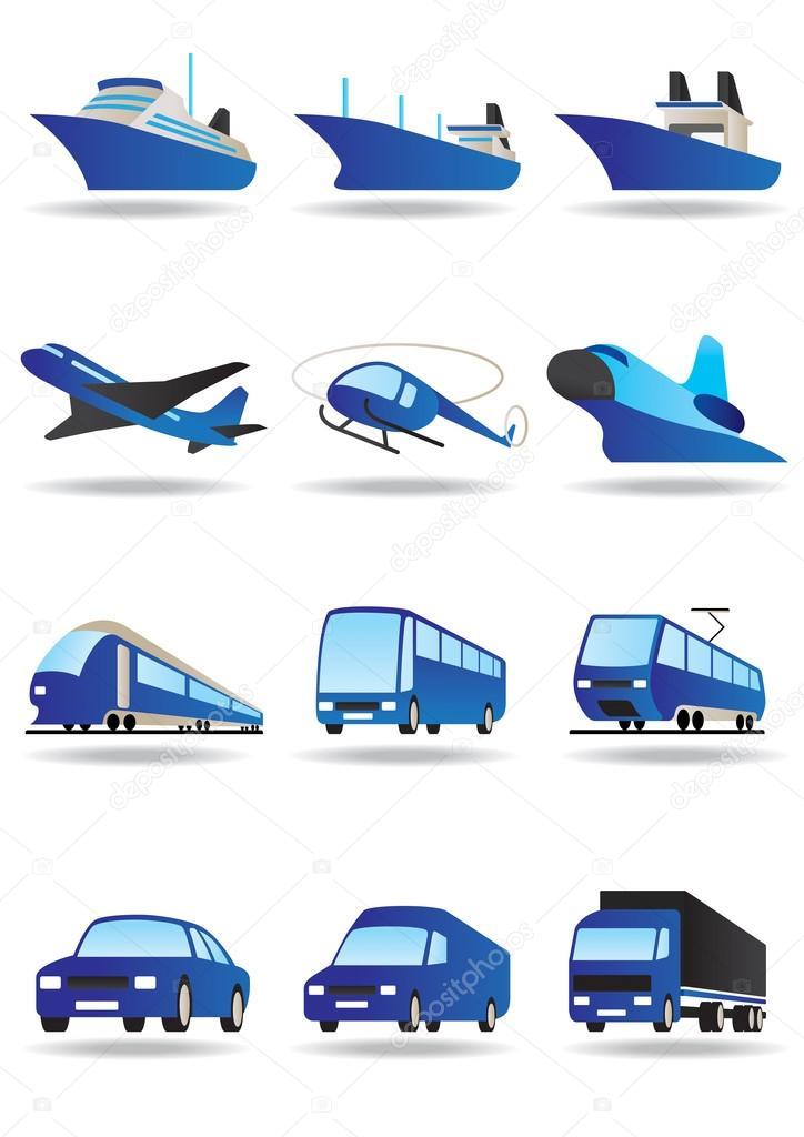 Dibujos Transportes Aereos Maritimos Y Terrestres Conjunto De