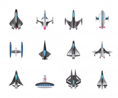 Different spaceships in flight