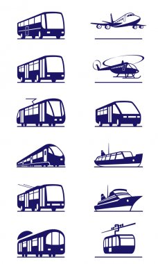 Public transportation icon set