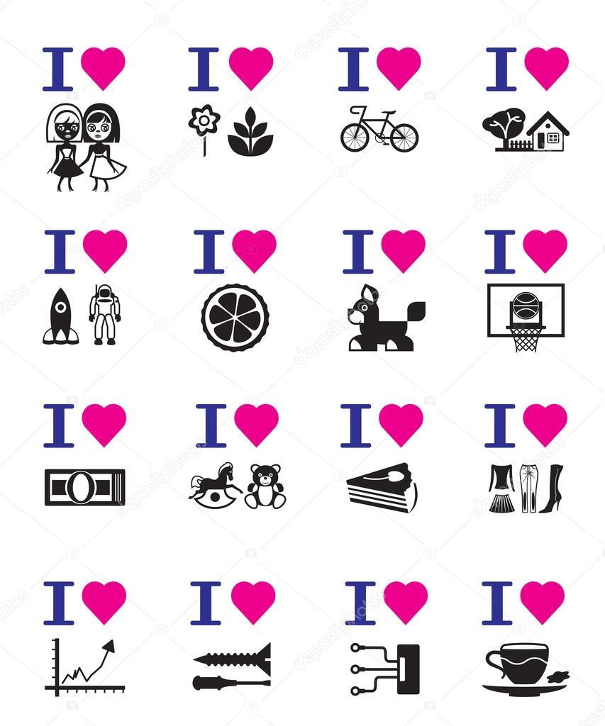 Berühmt amour drôle jeu d'icônes — Image vectorielle #23914849 UQ47