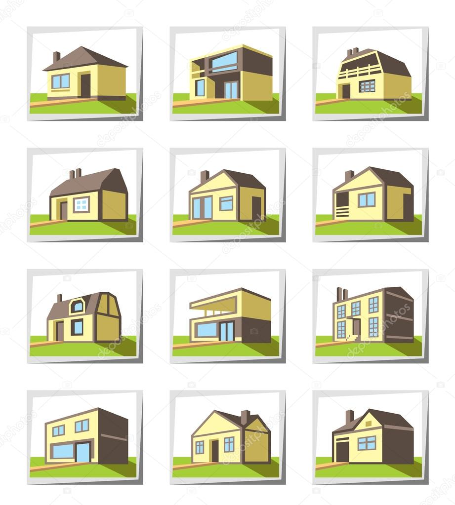 Various Types Of Houses Stock Vector Angelha 41640697
