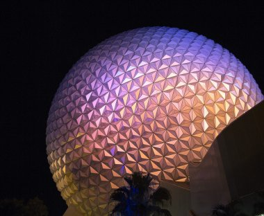The main entrance by night at Epcot, Disney World, Florida, USA.