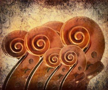 Violins on grunge background.