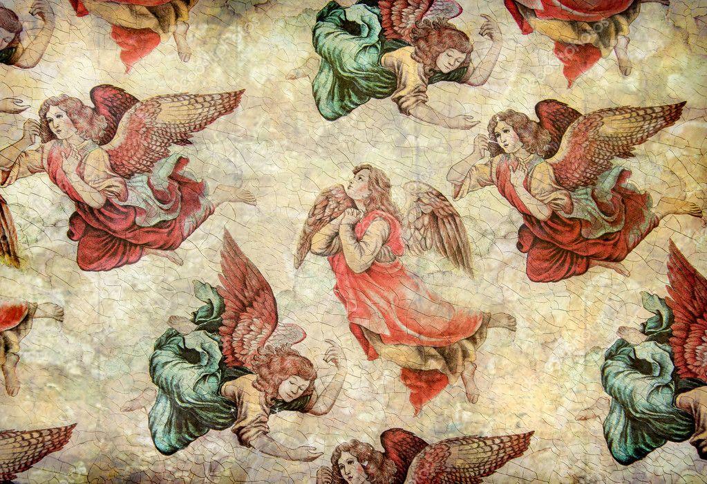 Angels on grunge background