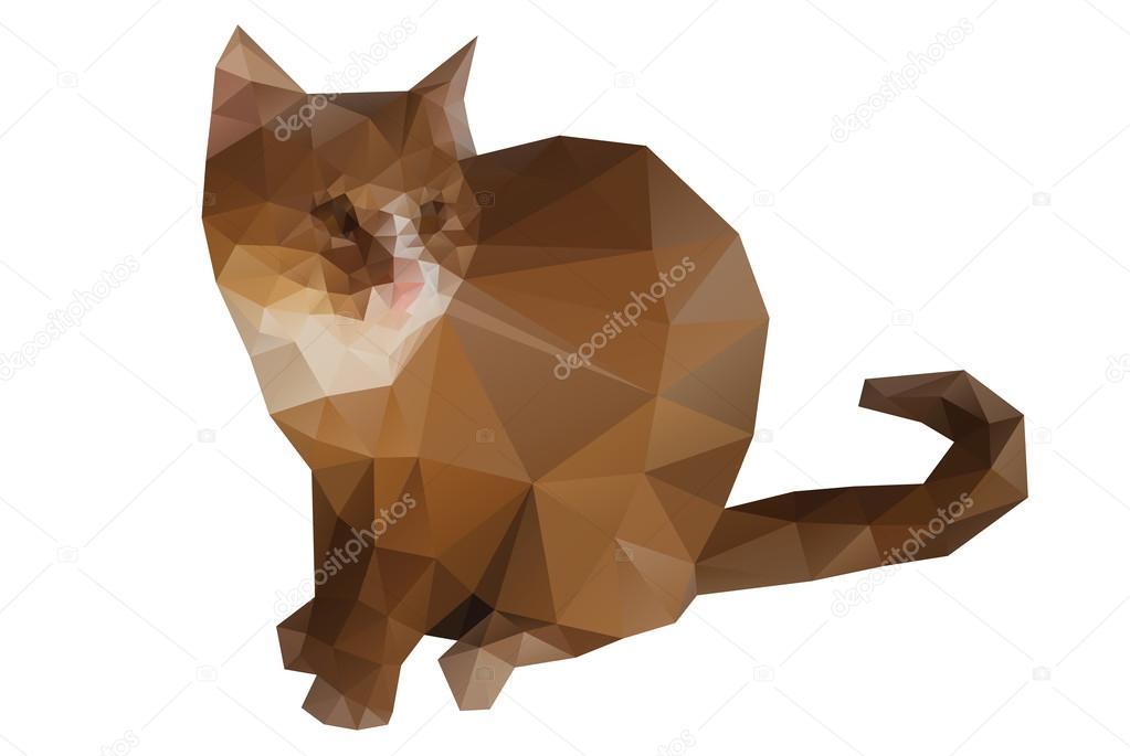 Kot Z Geometryczny Wzór Na Na Białym Tle Grafika Wektorowa