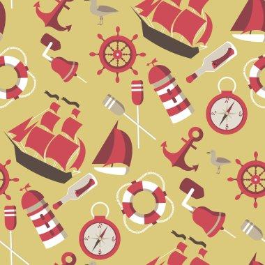Seamless Pattern on the marine theme