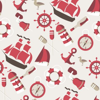 Seamless Pattern on the marine theme with a ships