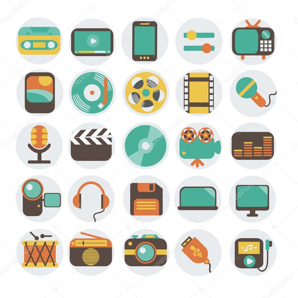 Modern flat icons vector illustration collection in stylish colors of multimedia symbols, sound instruments, audio and video items and objects. Isolated on white background. stock vector