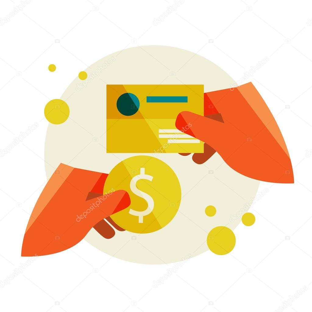 Hand holding a business card and a Hand holding coin — Stock ...