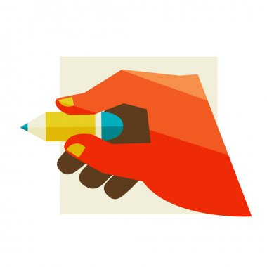 Hand holding a pencil