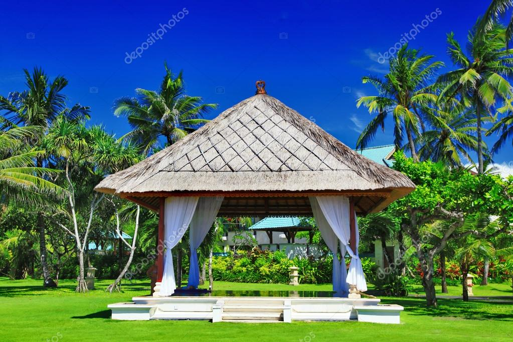 Pavilion in tropical surroundings