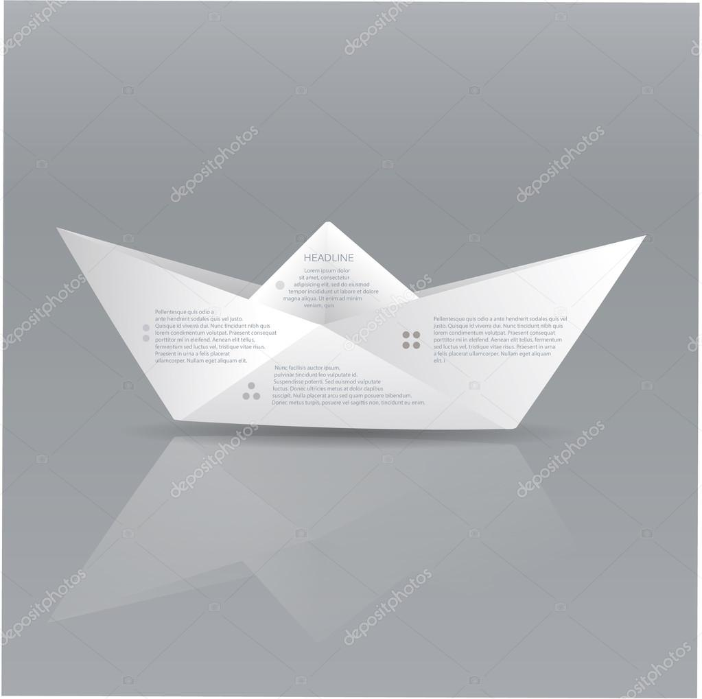 Vector Paper Origami Boat Sign With Space For Text About Stock