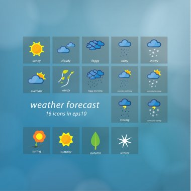 Weather forecast icons. Vector icons - stylized weather events.