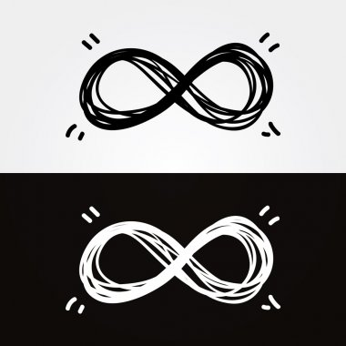 Vector hand-draw infinity. Infinity symbol, conceptual, iconic,