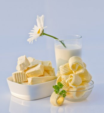 Dishes with Butter, Milk and Flower in It