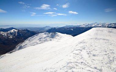 Panoramic snowy ridge