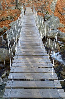 Rope suspended footbridge