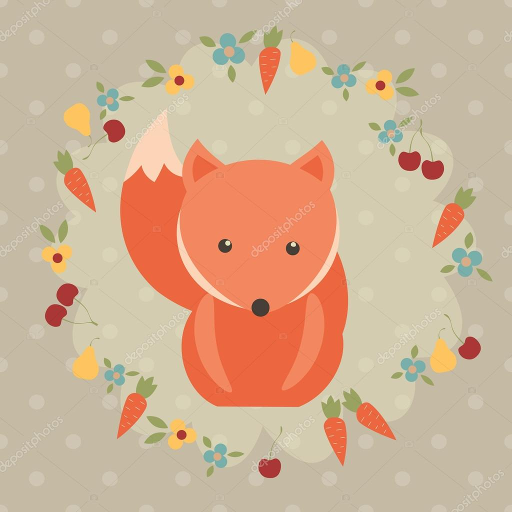 red fox vector