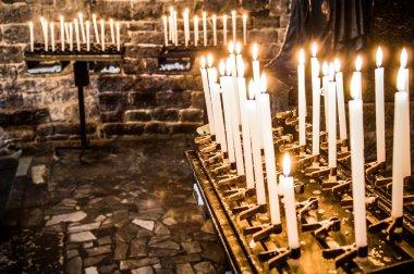 Prayer candles at a church stock vector