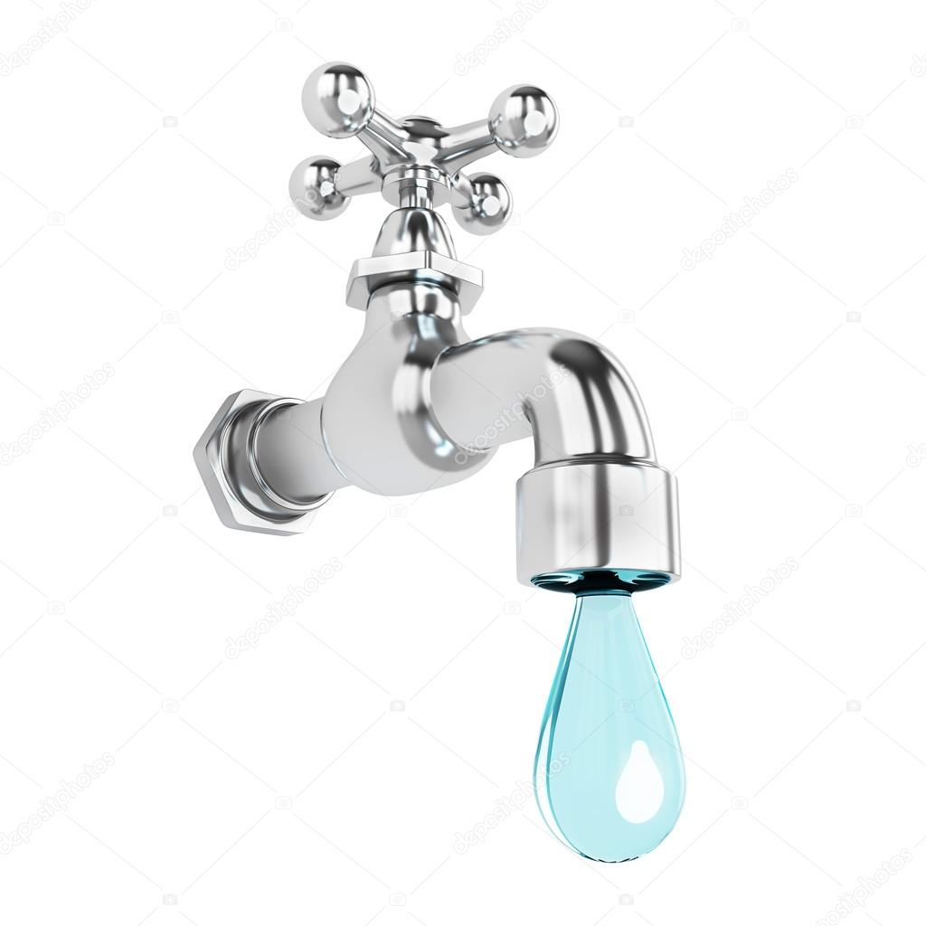 Dripping tap with drop — Stock Photo © aleksanderdnp #31939979